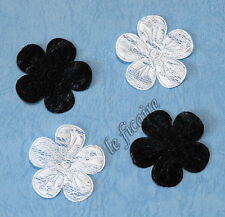 "U PICK COLOR~ 1-3/8"" Embossed See Through Lace Flower Appliques x 100 pcs #2393"