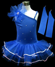 Blue Sexy Flower Girl Fairy Costume Dress Ballet Leotard Tutu Party Skirt 1-9Y