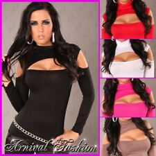 NEW WOMENS SEXY LONG SLEEVE DANCE TOP 6 8 10 LADIES HOT BLACK CLUBWEAR SHIRT S M