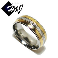 Men's Women's Stainless Steel Gold & Silver Tone Wedding Band Ring Size 6-13