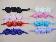 BOUTIQUE BABY/CHILD  TRIPLE SATIN ROSE HEADBAND VARIOUS COLOURS