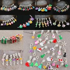 Hot 5mm Hole Dangle European Bead Crystal Enamel Mixed Style Color For Christmas