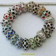 2 or 10 x Silver Plated Rhinestone Spacer Beads To Fit European Charm Bracelets
