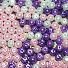 6 MM Glass Faux Pearls Beads For Jewellery Making Crafts Choice Of Colours Mix