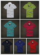 NWT Hollister HCO Men's Striped Muscle Polo S M L XL Tee Shirt Top All Color NEW