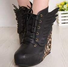 Leopard Angel Wings Sexy Wedge Heels Platform  Round Toe Womens Boots Shoes