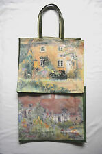 LESLEY HOLMES PVC COATED COTTON GUSSETED SHOPPING BAGS 2 DESIGNS