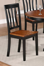 SET OF 2 ANTIQUE DINING ROOM KITCHEN SOLID WOOD CHAIRS IN BLACK & BROWN FINISHES