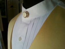 White Pleated front Banded or Mandarin Collar Shirt