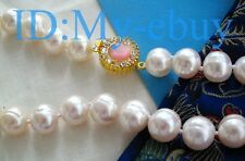 """LUSTER12mm White Oval Freshwater Pearl NecklacePink Opal Clasp 18"""""""