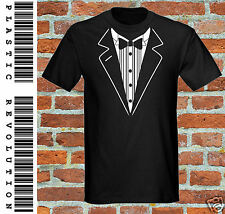 TUXEDO T-SHIRT - ALL SIZES + COLS  (Dinner Jacket Formal Wedding Suit Novelty)