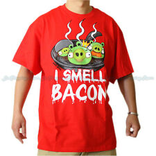 New Men's Licensed Angry Birds Red I Smell Bacon Shirt Fast Free USA Shipping