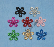 "U PICK~ 1"" Glitter Shiny Flower Appliques Clippies Crafts Cards x 80 pcs #2311"
