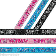 12ft Foil Banner Happy Birthday 13th-100th Party Decorations Under One Listing