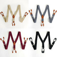 Mens Elastic Suspenders Adjustable 6 Button hole Braces 7Colors