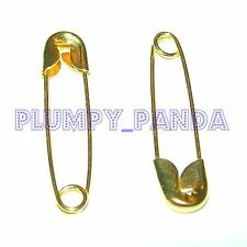 LARGE Medium SMALL Coiled Safety Pins Gold GOLDEN Yellow Fashion Garment Ribbons