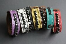 NEW Leather Studded Chain Surfer Bracelet Wristband Bangle Cuff Band Button