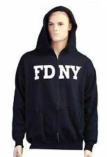 FDNY Zippered Hoodie Sweatshirt Officially Licensed Navy Blue Mens Fire Gift New