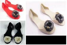 BLACK RED BEIGE Flat casual camellia sandals fish head shoes jelly shoes flower