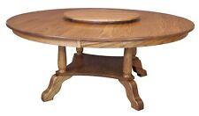 "Large Amish Round Dining Table Solid Oak Wood Traditional 60"",72"" Lazy Susan New"