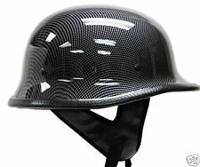 DOT German Carbon Fiber Motorcycle Cruiser Chopper Half Helmet Biker~S, M, L, XL