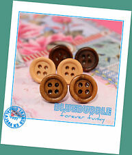 FUNKY VINTAGE STYLE WOODEN BUTTON STUD EARRINGS CUTE KITSCH RETRO BOHO CHIC EMO