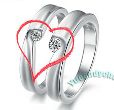 Made in Korea Matching Gems Heart LOVE Couple Lovers Rings SET White Gold Plated