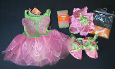 NWT Gymboree Pink & Green Blossom Fairy Costume Stripe Tights Hat & Booties Set