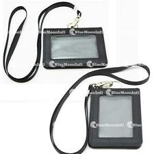 1 X Business ID Card Holder Badge Genuine leather + 1 X Clasp Neck Strap Lanyard