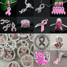 10/50X PINK RIBBON BREAST CANCER AWARENESS CRYSTAL /ENAMEL EUROPEAN /SPACER BEAD