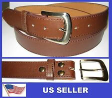 "Snap On BROWN Leather Belt. Removable Buckle. w/ stitch. 1-1/2"" Width."