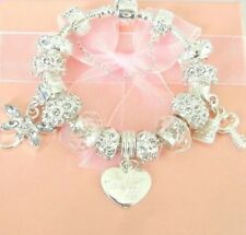 CHILDRENS/GIRLS/ TEENS SILVER SPARKLE CHARM BRACELET PERSONALISED WITH NAMES K-M