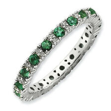 Sterling Silver Stackable Ring Created Emerald & Diamond accent stones, QSK807