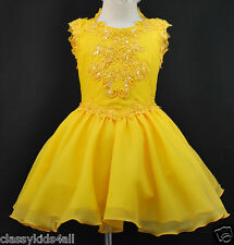 C1 Toddler Girl Baby National Glitz Pageant  Dress Sz 1 2 3 4 5 6 7 Yellow