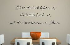 Bless the food family and love Vinyl Wall Decal Quotes