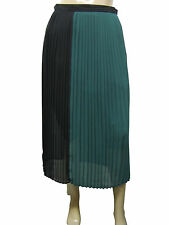 Womens M&S Calf Length Pleated Skirt Black & Green Size 6 - 18 Ladies WSK01C11