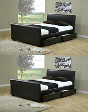 4ft6 Double or 5ft King Size Faux Leather 4 Drawer Storage Sleigh Bed Frame