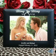 Personalized  Engagement Picture Frame Bling I Got The Ring Photo Frame 2 sizes