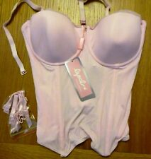 Lepel Pink Basque with 4 Suspenders 90808 was £35 32B, 34C, 36C, 34D