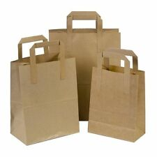 Kraft SOS Carrier Bags Flat Handle S,M,L Select Size & Qty Takeaway / Catering