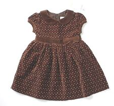 NWT girls size 12 18 24 months Gymboree brown velvet dress w/red pink ivory dots
