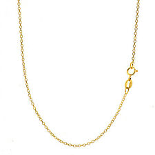 18K Gold Over 925 Sterling Silver 1mm Italian Cable Chain Necklace - ALL SIZES