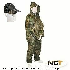 Camo Fishing  Hunting Waterproof Over Suit 2pc Set Trousers Jacket and bag + cap