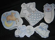 BABY BOY MIXED DIE CUTS MY MINDS EYE CROSS MY HEART BEAR DIAPER PIN RATTLE CLOTH