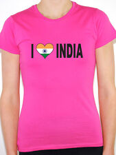 I LOVE INDIA WITH INDIAN FLAG IN A HEART SHAPE - International Womens T-Shirt