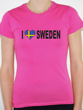 I LOVE SWEDEN WITH SWEDISH FLAG IN A HEART SHAPE - International Womens T-Shirt