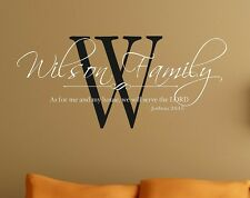 Wall Decal Personalized Family As for me and my house