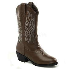 Western Girls Cowboy Cow Girl Boots Brown with White Deco Stitch Fancy Dress
