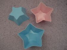 3 x Silicon Star Shaped Cupcake Moulds for Soap, Candle Making, Baking Pink Blue