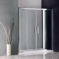 Chrome Shower Enclosure Walk In Sliding Double Glass Door Cubicle Stone Tray